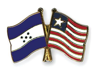 Crossed Flag Pins Honduras-Liberia