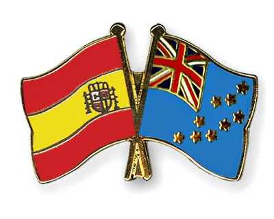 Crossed Flag Pins Spain-Tuvalu