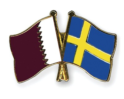 Special Offer Crossed Flag Pins Qatar-Sweden