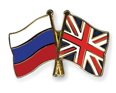 Crossed Flag Pins Russia-Great-Britain