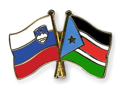 Crossed Flag Pins Slovenia-South-Sudan