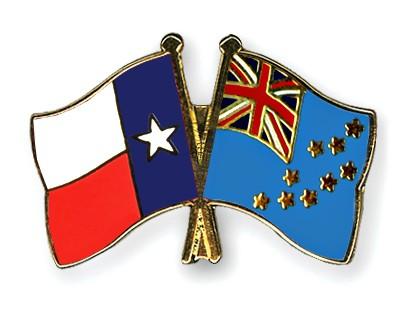 Crossed Flag Pins Texas-Tuvalu