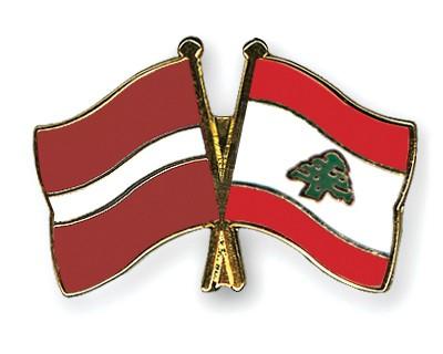 Crossed Flag Pins Latvia-Lebanon