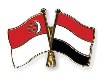 Crossed Flag Pins Singapore-Yemen