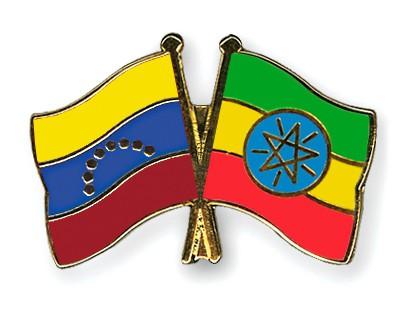 Crossed Flag Pins Venezuela-Ethiopia