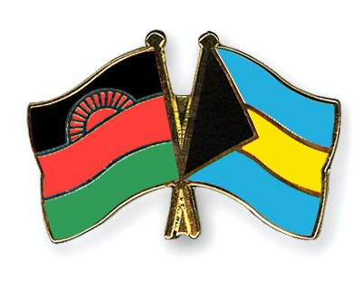 Crossed Flag Pins Malawi-Bahamas