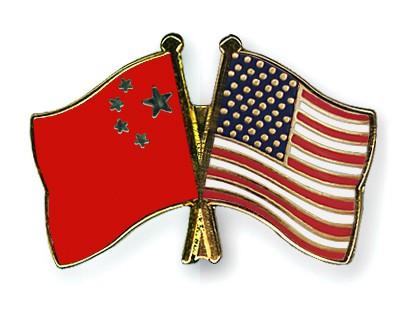 Crossed Flag Pins China-USA