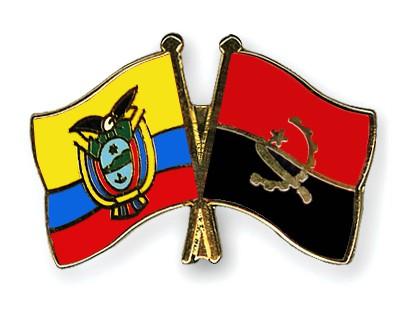 Crossed Flag Pins Ecuador-Angola