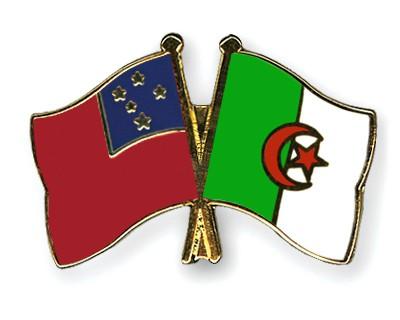 Crossed Flag Pins Samoa-Algeria