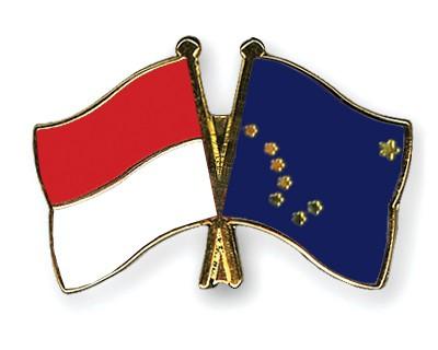 Crossed Flag Pins Indonesia-Alaska
