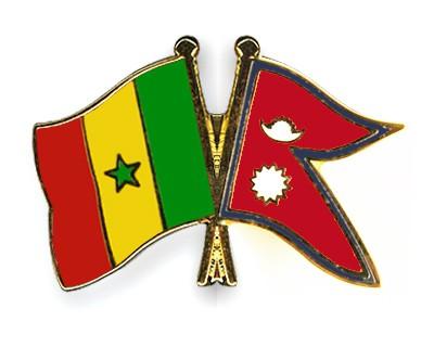 Crossed Flag Pins Senegal-Nepal