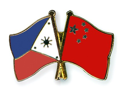Crossed Flag Pins Philippines-China