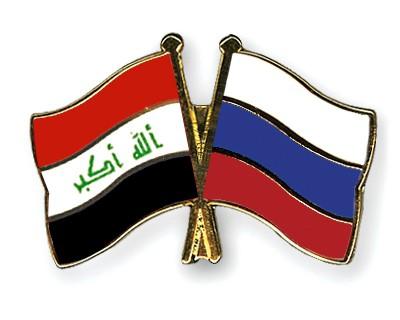 Crossed Flag Pins Iraq-Russia
