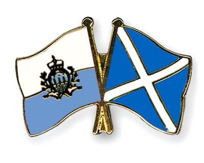 Crossed Flag Pins San-Marino-Scotland