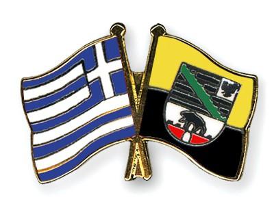 Crossed Flag Pins Greece-Saxony-Anhalt