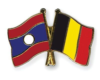 Crossed Flag Pins Laos-Belgium
