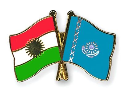Crossed Flag Pins Kurdistan-Kazakhstan