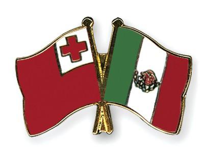 Crossed Flag Pins Tonga-Mexico