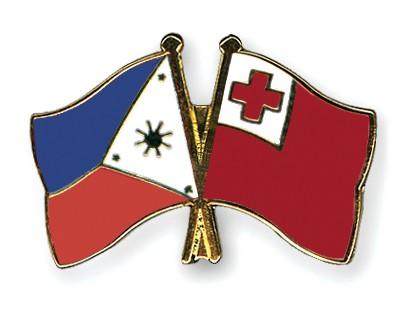Crossed Flag Pins Philippines-Tonga