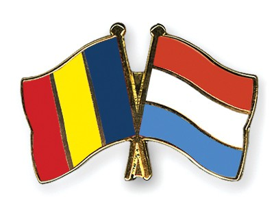 Special Offer Crossed Flag Pins Romania-Luxembourg