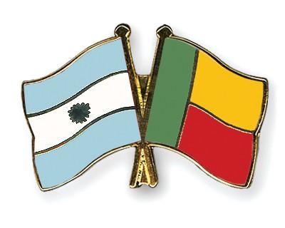 Crossed Flag Pins Argentina-Benin