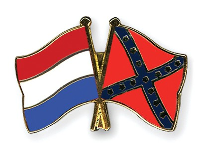Crossed Flag Pins Netherlands-Confederate-battle