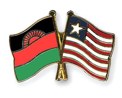 Crossed Flag Pins Malawi-Liberia