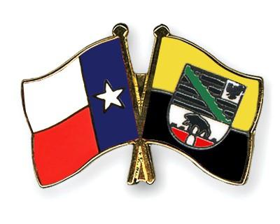 Crossed Flag Pins Texas-Saxony-Anhalt