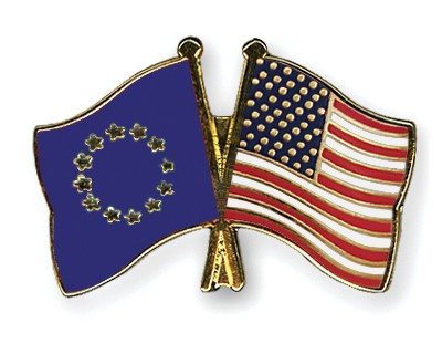 Special Offer Crossed Flag Pins European-Union-USA