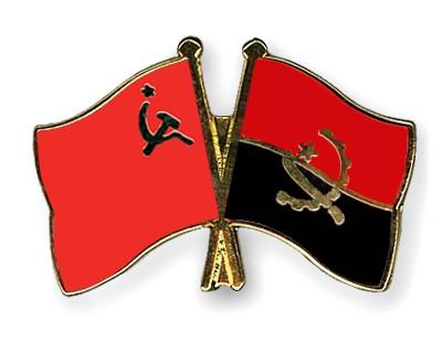Crossed Flag Pins USSR-Angola