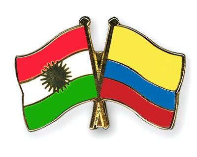 Crossed Flag Pins Kurdistan-Colombia