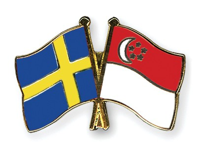 Special Offer Crossed Flag Pins Sweden-Singapore