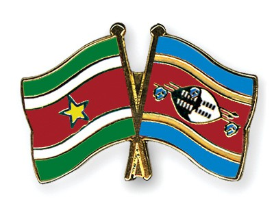 Crossed Flag Pins Suriname-Swaziland