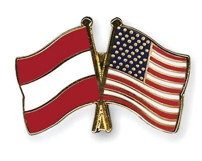 Special Offer Crossed Flag Pins Austria-USA
