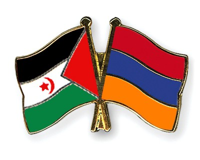 Crossed Flag Pins Western-Sahara-Armenia