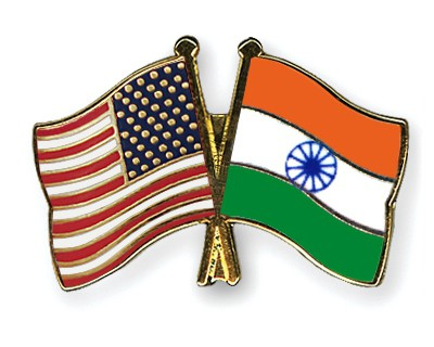 Crossed Flag Pins USA-India