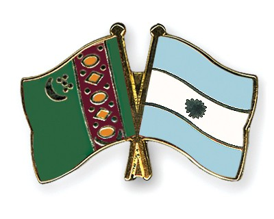 Crossed Flag Pins Turkmenistan-Argentina