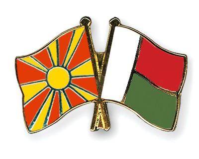 Crossed Flag Pins Macedonia-Madagascar