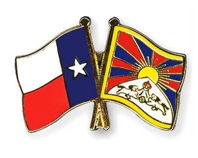 Crossed Flag Pins Texas-Tibet