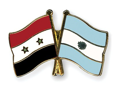 Crossed Flag Pins Syria-Argentina
