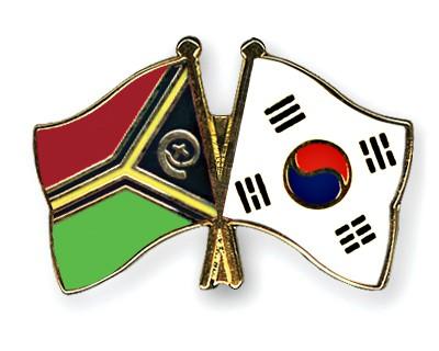 Crossed Flag Pins Vanuatu-South-Korea