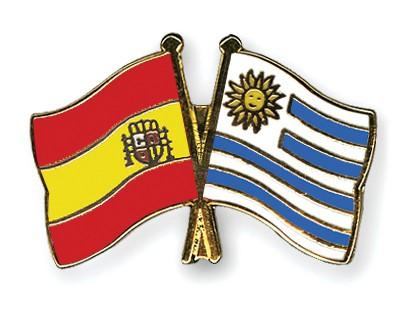 Crossed Flag Pins Spain-Uruguay