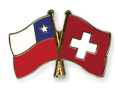 Crossed Flag Pins Chile-Switzerland