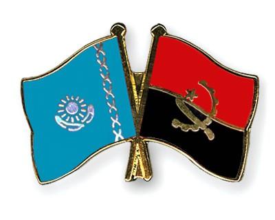 Crossed Flag Pins Kazakhstan-Angola