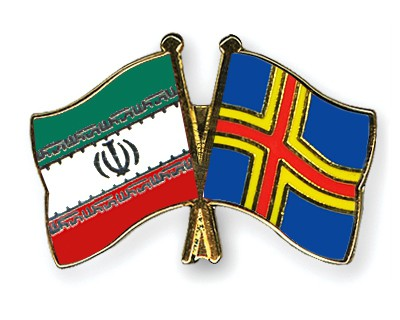 Crossed Flag Pins Iran-Aland