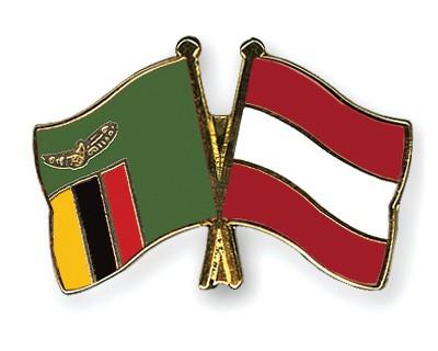 Crossed Flag Pins Zambia-Austria