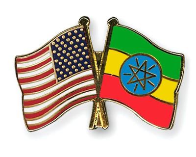 Crossed Flag Pins USA-Ethiopia