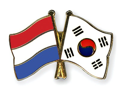 Crossed Flag Pins Netherlands-South-Korea