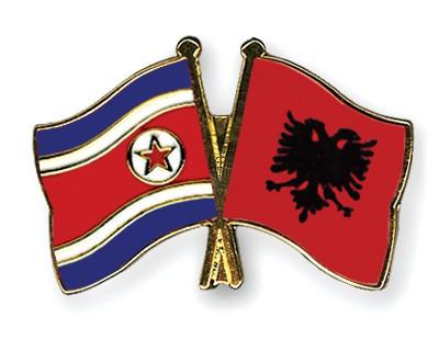 Crossed Flag Pins North-Korea-Albania