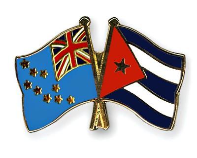 Crossed Flag Pins Tuvalu-Cuba
